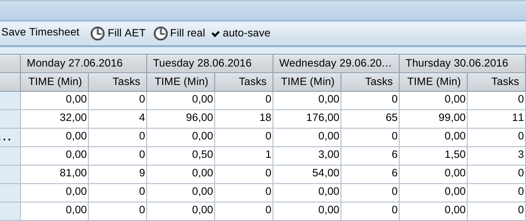 Timesheet auto-fill